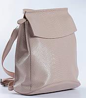 """Жіночий рожевий (пудровий) рюкзак-сумка з натуральної шкіри з тисненням """" під зміїну шкіру Tiding Bag - 76545, фото 2"""