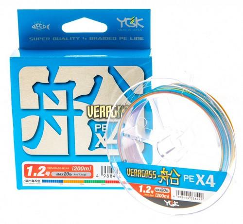 Шнур YGK Veragass PE x4 200m (0.6 (12lb / 5.45kg))