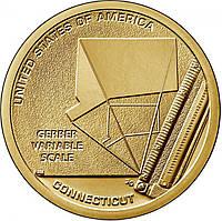 США 1 доллар 2020, Переменная шкала гербера, Коннектикут. Американские инновации