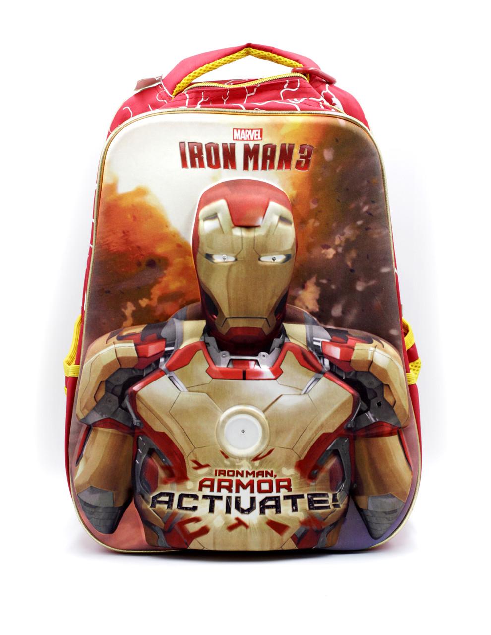 Шкільний рюкзак Марвел Залізна людина для хлопчика, дитячий шкільний портфель червоний Супергерої
