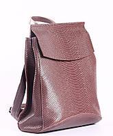 """Жіночий рожевий (лілово-рожевий) шкіряний рюкзак-сумка з тисненням """" під зміїну шкіру Tiding Bag - 24884, фото 2"""