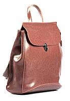 Жіночий темно-рожевий (пудровий) міський рюкзак з натуральної шкіри Tiding Bag - 87671, фото 2