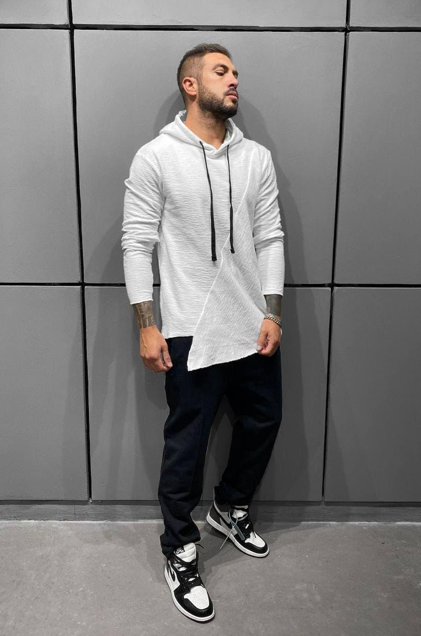 Мужская худи оверсайз (белая) молодежная кофта ADA1304