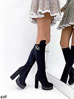 Шикарні чоботи-панчохи на товстому каблуці, фото 1