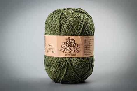 Зимняя полушерстяная пряжа для вязания с ангорой ТМ Vivchari 307 оливковый