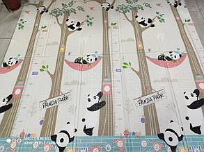 Дитячий килимок двосторонній складаний Панда /Динозаври XPE 200*180*1 см