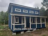 Каркасний будиночок для дачі 6,40*9,40 з двома терасами, фото 3
