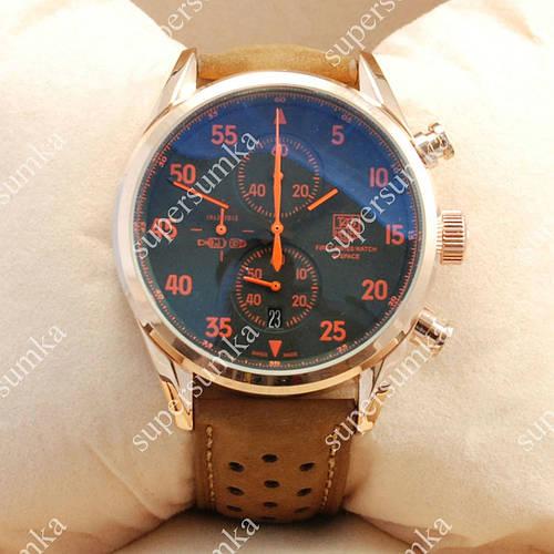 Стильные наручные часы TAG Heuer Carrera 1887 SpaceX Quartz Gold/Black-Orange 2127