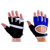 Перчатки атлетические черно-синие Ronex RX-01, размер L