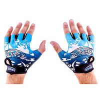 Перчатки атлетические синие Ronex Lycra+Amara RX-09, размер M