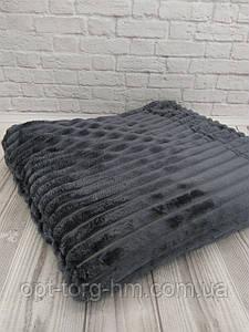 Плед шарпей велюровий в смужку т. сірий 200х230 см