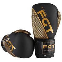Боксерские перчатки черно-золотые 10oz FGT Flex 2560