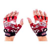 Перчатки атлетические красные Ronex Lycra+Amara RX-09, размер M