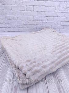 Плед шарпей велюровий в смужку пісочний 200х230 см