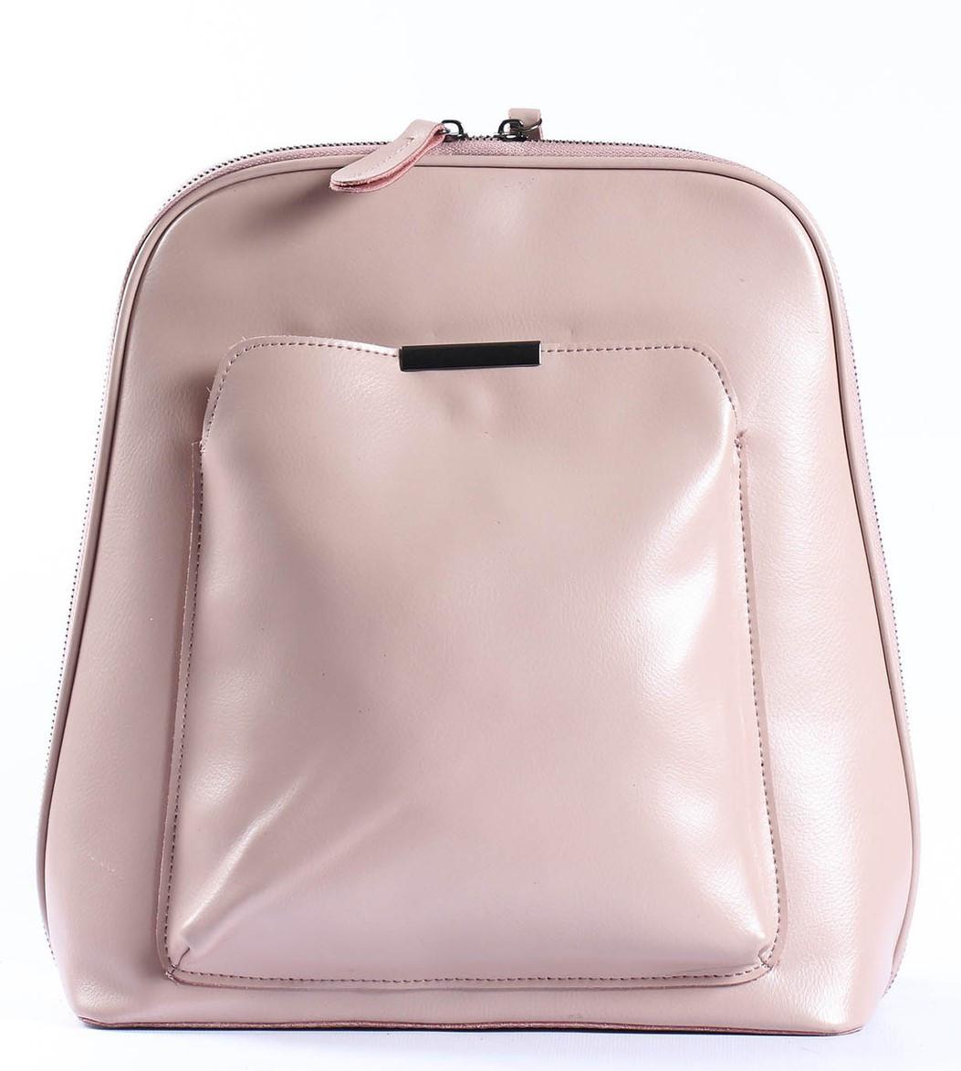Жіночий шкіряний рюкзак-трансформер в ніжно-рожевому кольорі Tiding Bag - 05905