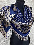 Брендовый атласный платок Louis Vuitton синий с бежевым 90х90 см (цв.5), фото 2