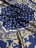 Брендовый атласный платок Louis Vuitton синий с бежевым 90х90 см (цв.5) - купить на Kosinka.net