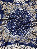 Брендовый атласный платок Louis Vuitton синий с бежевым 90х90 см (цв.5), фото 4