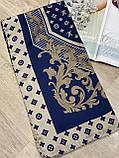 Брендовый атласный платок Louis Vuitton синий с бежевым 90х90 см (цв.5), фото 6