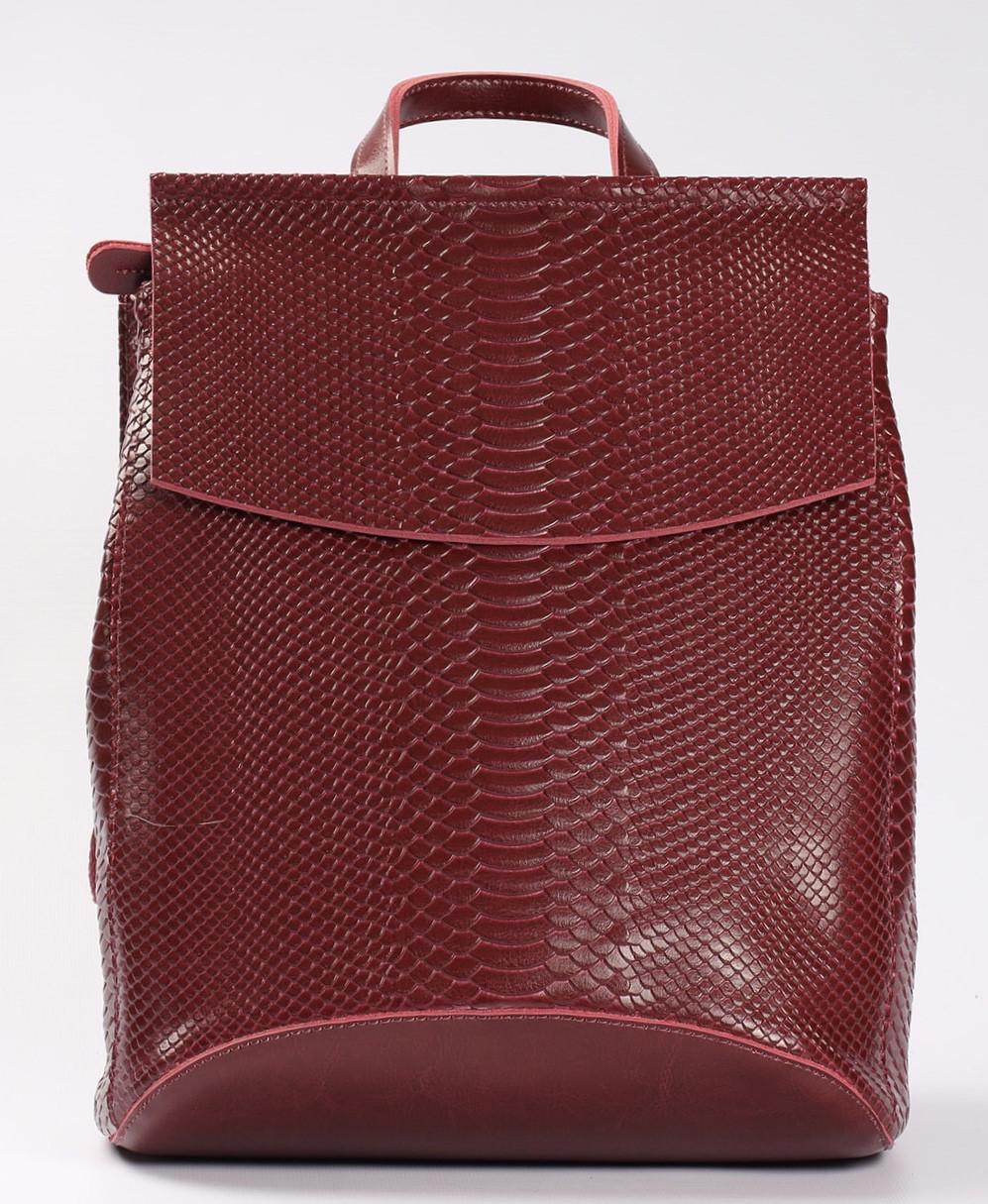 """Жіночий червоний рюкзак-сумка з натуральної шкіри з тисненням """" під зміїну шкіру Tiding Bag - 34376"""