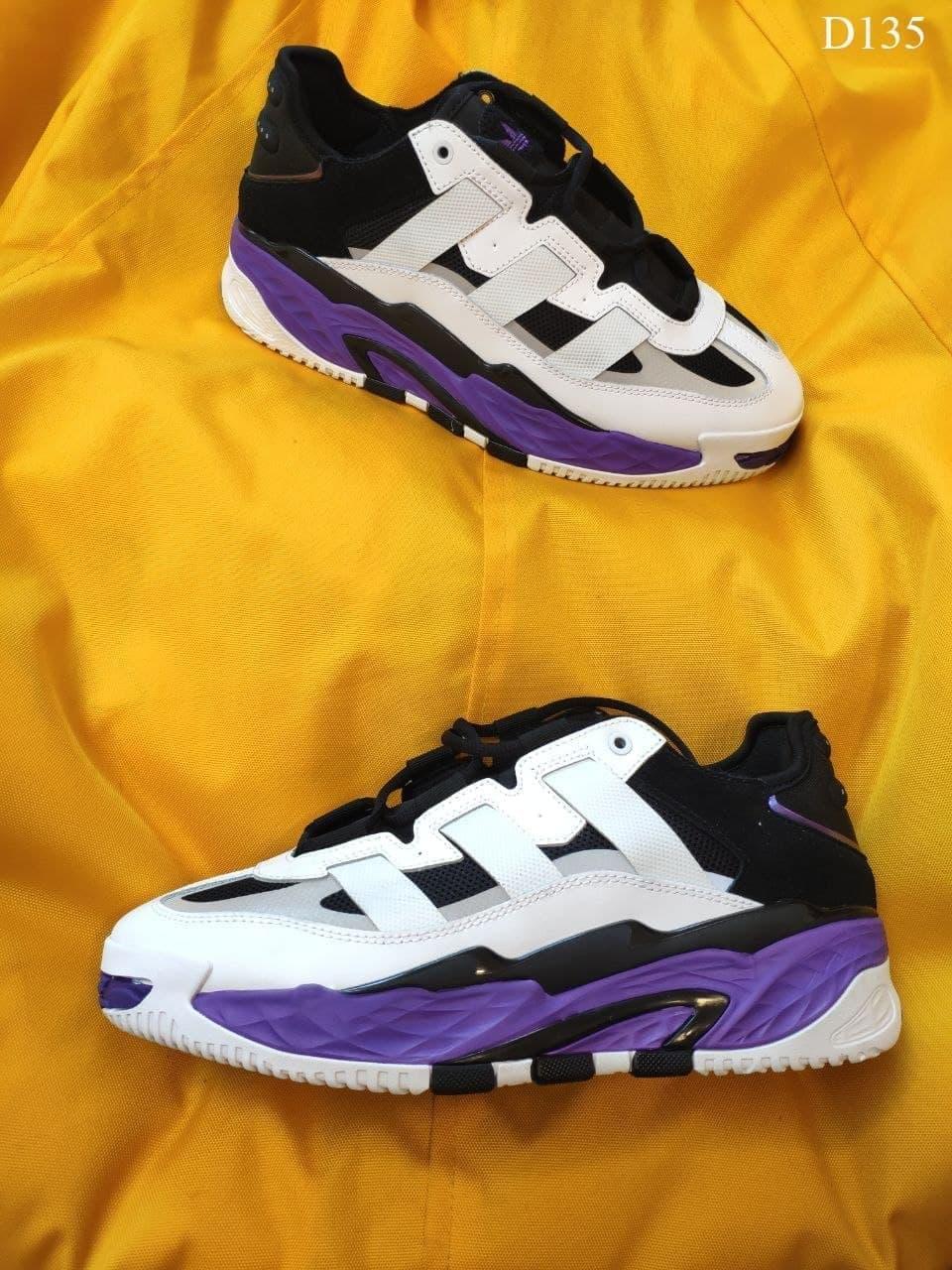 Чоловічі кросівки Adidas Niteball (чорно-фіолетовий) D135 молодіжні модні кроси