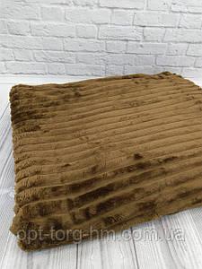 Плед шарпей велюровий в смужку коричневий 200х230 см