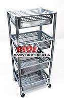 Етажерка 4-ярусна (колір - сірий) пластикова прямокутна 39х30х93см на коліщатках Консенсус, фото 1