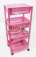Этажерка 4-ярусная (цвет - розовый) пластиковая прямоугольная 39х30х93см на колесиках Консенсус, фото 1