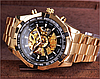 Часы с автоподзаводом Winner Skeleton Gold