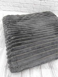 Плед шарпей велюровий в смужку мокко 200х230 см