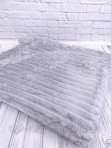 Плед шарпей велюровий в смужку світло-сірий 200х230 см