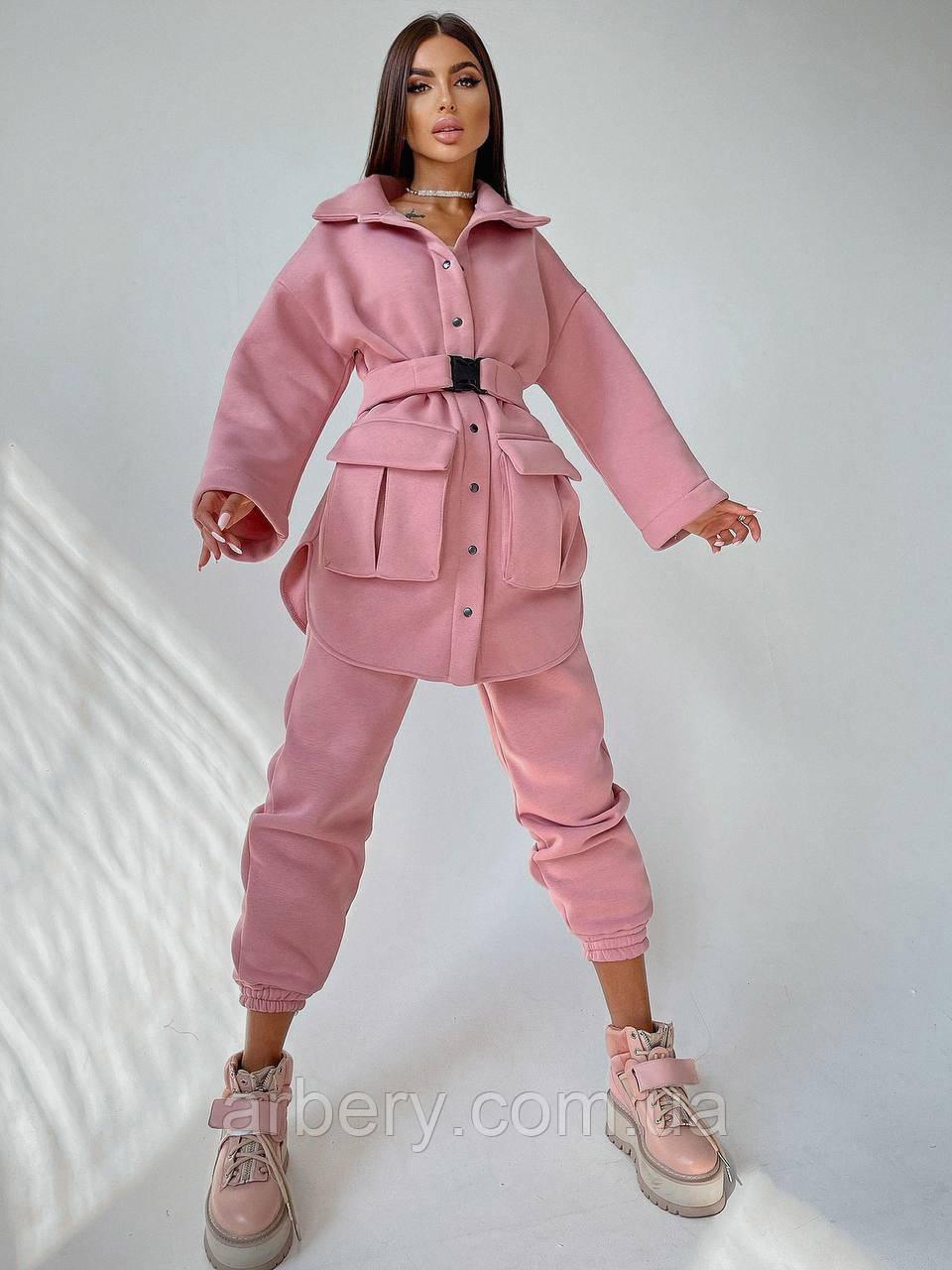 Шикарный теплый костюм рубашка и джогеры