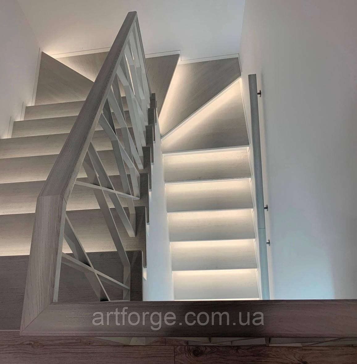 """Огорожа для сходів в сучасному стилі """"Лофт, Хай-Тек, Мінімалізм"""""""