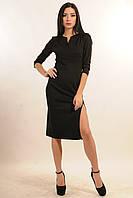 Платье женское черное с разрезом.