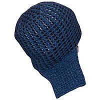 Мужская вязаная зимняя шапка-ушанка(утепленный вариант), джинсового цвета с кожаными вставками