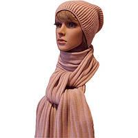 Женская вязаная шапка - носок (утепленный вариант) и шарф-петля цвета пудры
