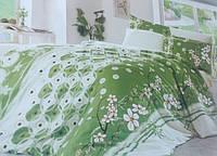 Полуторное постельное белье Голд - белое с зеленым