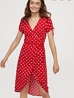 Платье красное в горох с запахом h&m