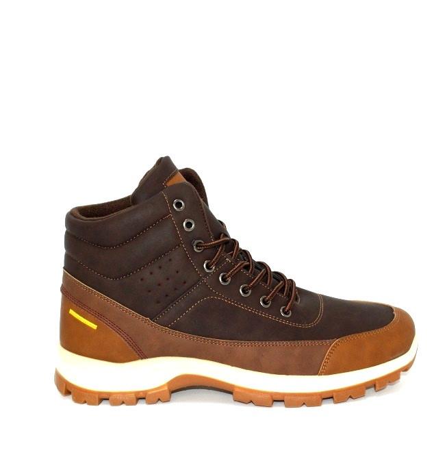 Високі чоловічі черевики коричневі на хутрі