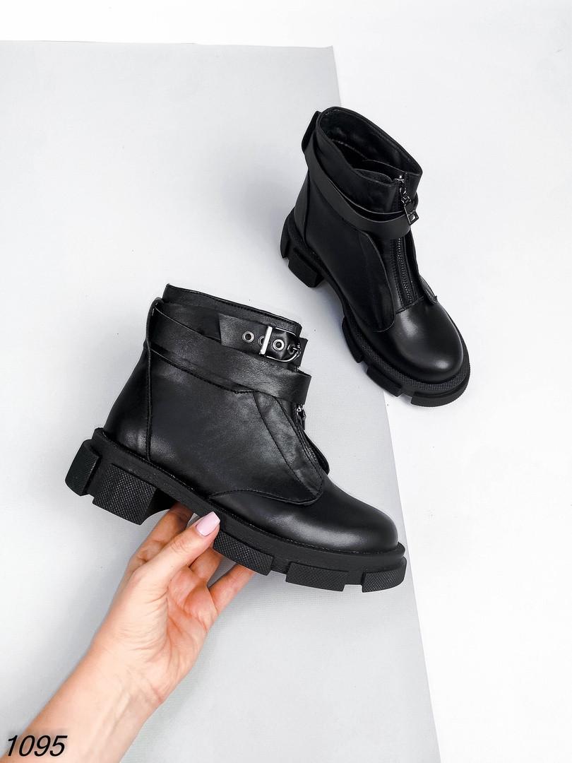Женские Ботинки c ремешком змейка спереди - рабочая Цвет - Черный Материал - нат.кожа