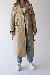 Длинный женский тренч Bilichka Ткань - 100% коттон (Бежевый)
