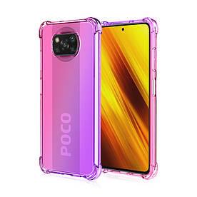 Чохол накладка для Poco X3 силіконовий з посиленими кутами, Gradient, Рожевий