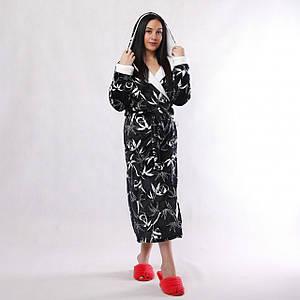 """Жіночий довгий махровий халат з подвійним капюшоном """"Панда""""46-54р (без чобіток)"""