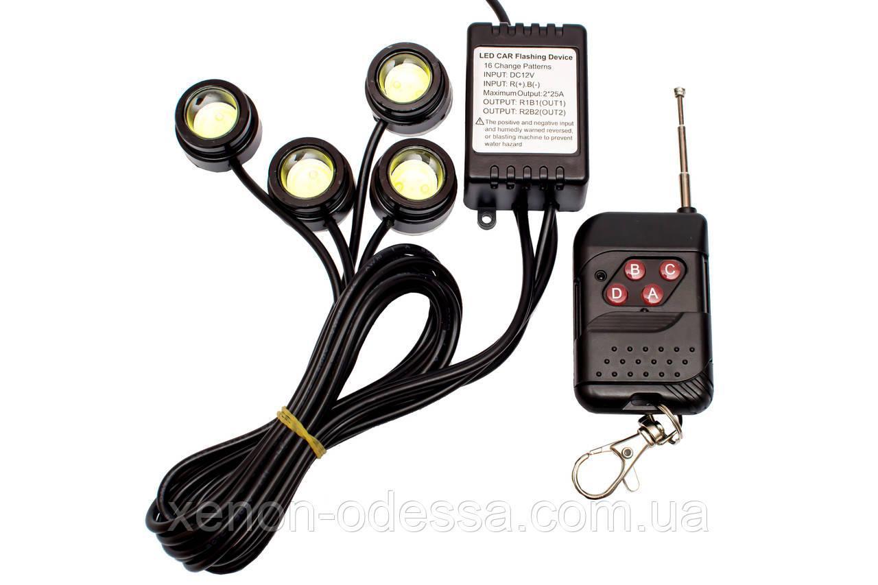 Стробоскопы COB LED DRL 4 канала (16 режимов)