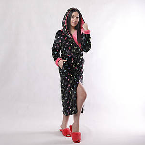 """Жіночий довгий махровий халат з подвійним капюшоном """"Pink""""46-54р"""