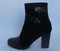 Женские ботинки на каблуке, возможен отши в в других цветах кожи и замши, фото 1