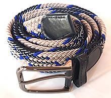 Пасок резинка плетений 100х3,5 см, бежево-синій