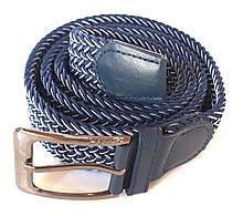 Пасок резинка плетений 100х3,5 см, синій з білою ниткою