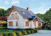 MS109 – это проект дома с мансардой и балконом, фото 1