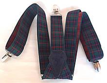 Підтяжки для штанів молодіжні ширина 3,5 см в клітинку зелені